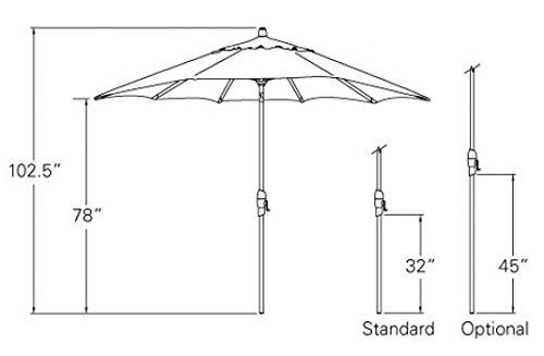 9-Foot Treasure Garden (Model 810) Deluxe Auto-Tilt Market Umbrella with Bronze Frame and Sunbrella Fabric: Canvas (Includes 3 Year Extended Frame Warrantee) by Treasure Garden (Image #5)