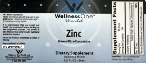 Zinc - Premium Liquid Ionic Mineral Immune Health Support Supplement(100 days at 15 mg Per 10 Drop Serving) 50 ml Bottle by WellnessOne (Image #1)
