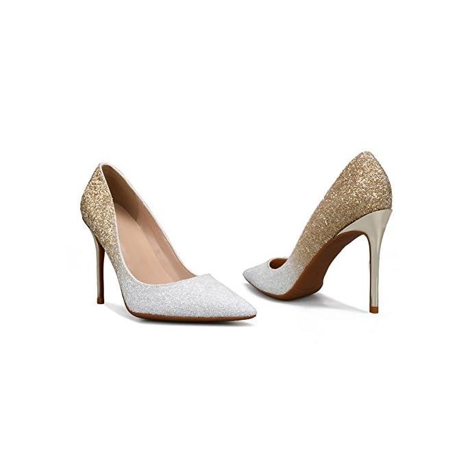 Zwf Shoes Donna Tacco Alto Scarpe Caviglia Classiche Argento Nozze Lavoro Festa Elegante Taglia 35-45