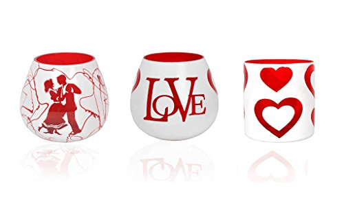 Lal Haveli Set of 3 Glass Tealight Holders Ideal Gift for Valentines Day, Wedding, Party, Spa, Aromatherapy by Lalhaveli