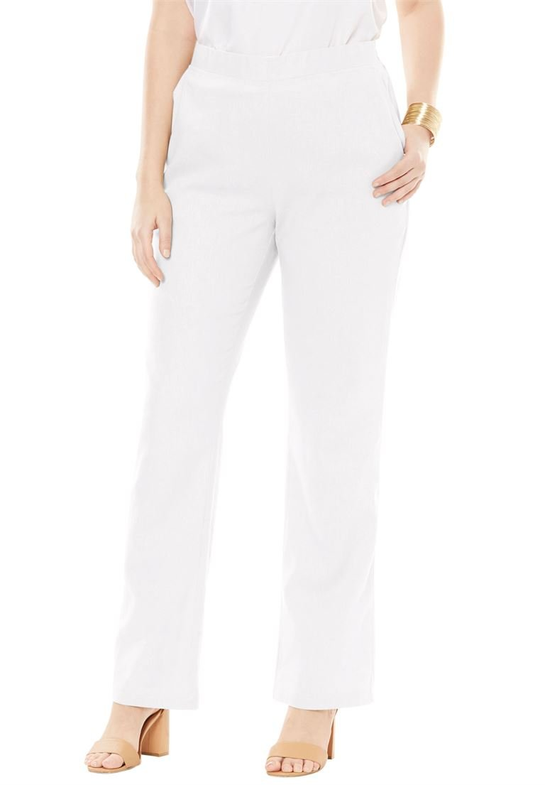 Jessica London Women's Plus Size Tall Pull-On Linen Pants White,22 W