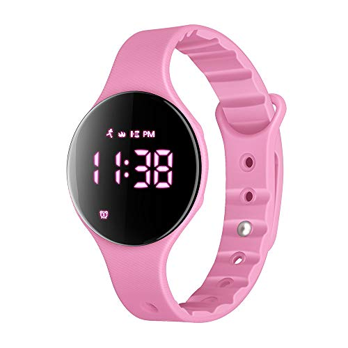 (iGANK Fitness Tracker Watch, T6A Non-Bluetooth Smart Bracelet Walking Pedometer Watch Step Counter/Calorie Burned/Distance/Alarm/Stopwatch for Kids Men Women (Pink))