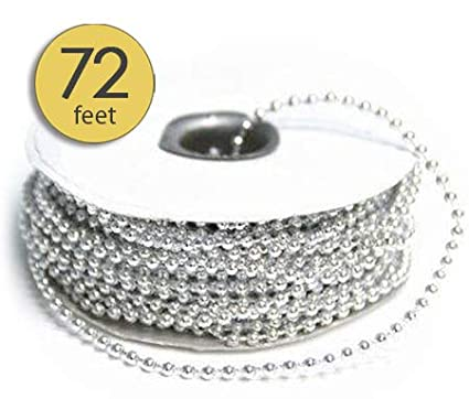 3MM Silver Faux Pearls String of Pearls for Crafts Pearls for Decoration String Pearls for Crafts Silver Pearls Beads DIY Party Garland Wedding Centerpieces Bridal Bouquet Tree Garland 72 Ft Roll