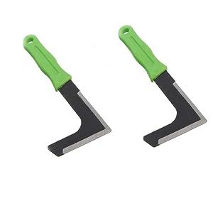 """Chiloskit 2PCS Carbon Steel 8.2"""" L-Shape Blade Side-Walk Weeding Sickler Weed Puller Weeder Tool Machete Hook Knife Yard Lawn Tool"""