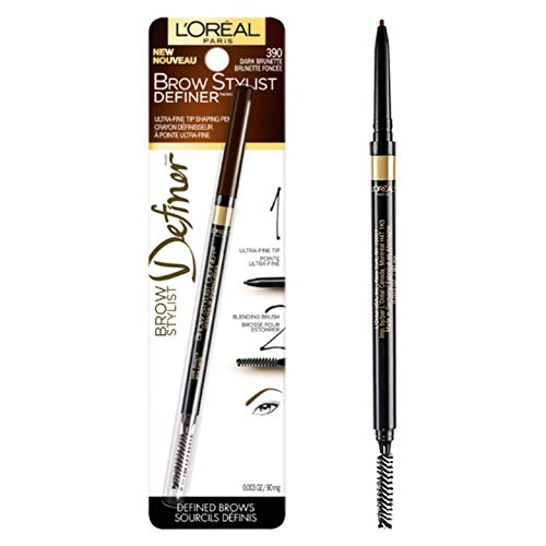 L'Oréal Paris Makeup Brow Stylist Definer Waterproof Eyebrow Pencil, Ultra-Fine Mechanical Pencil, Draws Tiny Brow Hairs & Fills in Sparse Areas & Gaps, Dark Brunette, 0.003 oz.