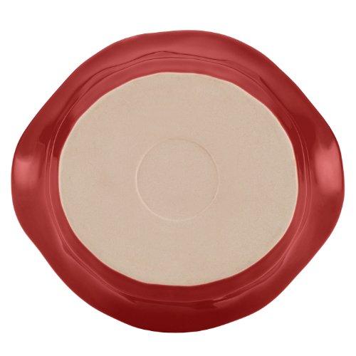 Rachael Ray Cucina Stoneware 1-1/2-Quart Round Baker, Cranberry Red