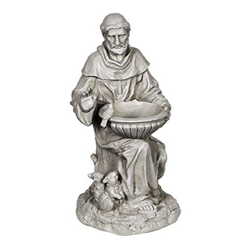 Exhart St. Francis of Assisi Garden Statue - Durable Resin Statue of Saint Francis w/Bird Bath Bowl - Christian Yard Decor, Resin Christian Statues, Garden Art Decorations, 19