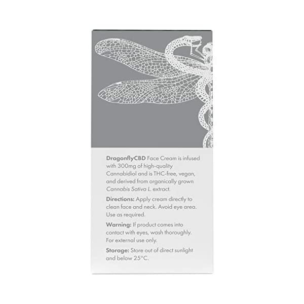 Dragonfly CBD Hydrating Face Cream 300 mg, 75 ml | Skin Care | Face Moisturiser | 100% Natural Antioxidant | Cocoa Butter | Vegan | Hemp Oil | Moisturising Dry Skin