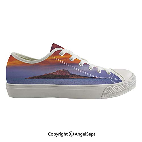 Durable Anti-Slip Sole Washable Canvas Shoes 15.74inch Hawaii Deserted Island in Ocean with Mountain Trees Cloudy Photography Print,Orange Purple Flexible and Soft Nice Gift