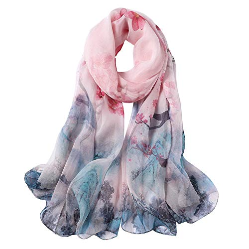 Smi&Love 100% Mulberry Silk Scarf,Chiffon Shawl,Elegant Fashion Floral Scarves (1) ()