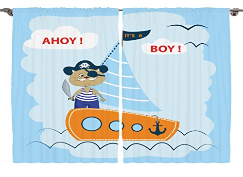 Ambesonne Girls Boys Kids Room Marine Decor Collection, Ahoy Its a Boy Pirate Cat hat Sword Sailboat Nautical Anchor Ship Art, Window Treatments for Kids Bedroom Curtain 2 Panels Set, 108X63 (Cartoon Pirate Hat)