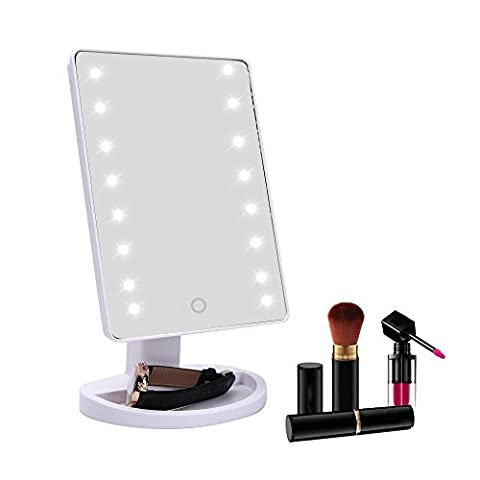Seana Makeup Mirror with LED Lights  16/22 LED Touch Screen Mirror Foundation Brush Vanity Mirror (White Out Contact Lens)