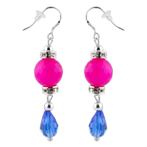 Pink Dangle Shade - JewelryVolt Dangle Earrings - Combination Colored Drop Bead Earrings(Fuschia Pink and Navy Blue Color Shades)