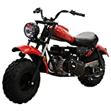 X-PRO MB200 Supersized 196CC Youth Mini Bike Gas Powered Mini Trail Bike Scooter Mini Motorcyle for Kids,19' Wide Fat Balanced Tires! Big Headlight!(Red)
