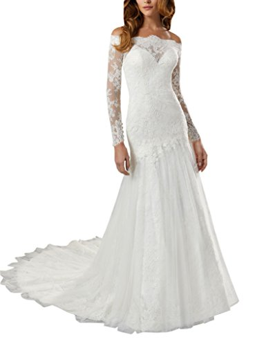 Dropped Waist Wedding Dress - Mollybridal Long Sleeve Off Shoulder Mermaid Wedding Dress for Women Illusion Lace Tulle Hollow Ivory 2