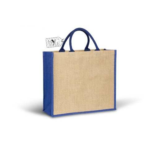 """'My Custom Style® Bolso Shopper Beige/Azul (yute natural la colección """"Bruno Bags, cuerpo de la bolsa de color beige con adornos laterales laminados de color azul, con asas reforzadas de 40cm. Tamaño"""