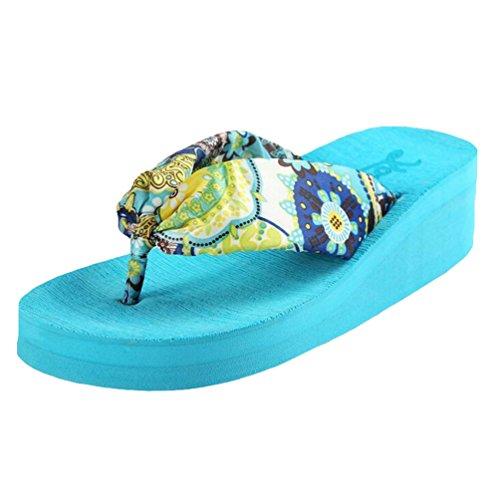 Yiiquan Mujeres Verano Chanclas Bohemia Pendiente Con Sandalias Flip Flop Azul #1