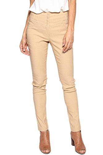 Khaki Ankle Pants (TheMogan Women's high Waist Slim Skinny Ankle Trouser Pants Khaki S)