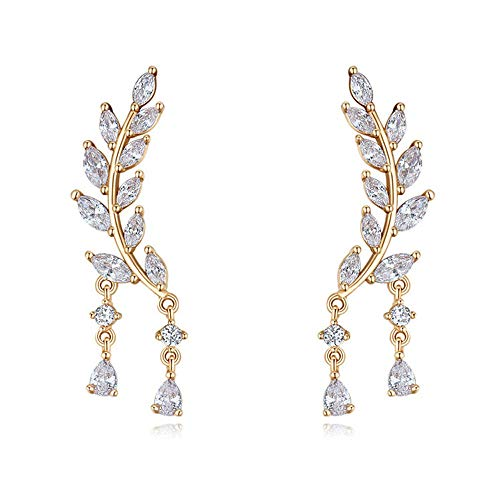 Y&K Sparkling Clear CZ Leaf up Ear Pin Crawler Cuff Wrap Stud Climber Earrings For Women Jewelry (Gold style 3)
