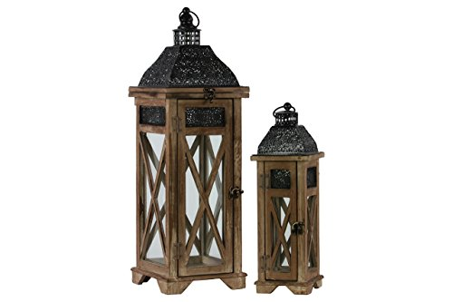 Urban Trends 26120 Weathered Wood Finish Square Lantern with Black Pierced Metal Top and Ring Hanger (Set of 2), Dark Brown, Dark Brown