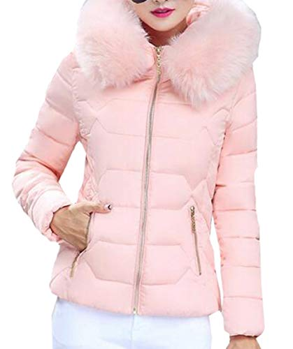 Pink Puffer Fashion Jacket Fur with Coat security Hood with Slim Down Fit Parka Women's Down 6n5wHZqa