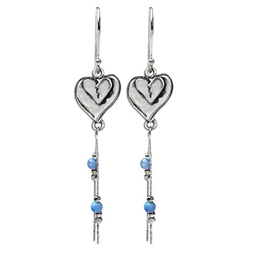 Hearts Earrings Unique Design 925 Sterling Silver Double Heart Dangle Earring with Created Blue Fire Opal (Double Heart Dangle Earrings)