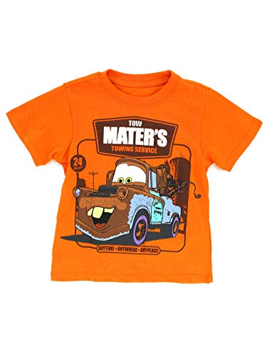 (Disney Cars Toddler Short Sleeve Tee (5T, Orange Tow Mater)