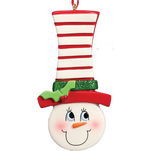 Personalized Snow Face Christmas Tree Ornament 2019 - Cute Snowman Long Striped Festive Hat Carrot Nose Gift Grand Kid Child Love Sweet Candy Traditional Baby