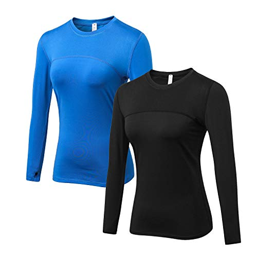 WANAYOU Women's Compression Tops Performance Athletic Long Sleeve Shirt Moisture Wicking Workout T-Shirt Tops (Medium/Fit Bust:34.6-36.6