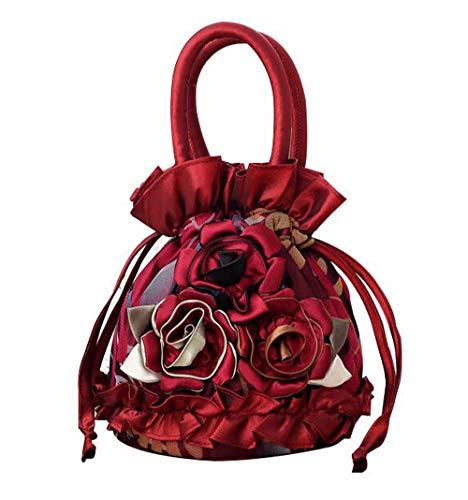 Women Roses Handbag Small Drawstring Bucket Bags For Women Flowers Bright Ruffles Printed Lace/Gauze Fully Lining Burgundy