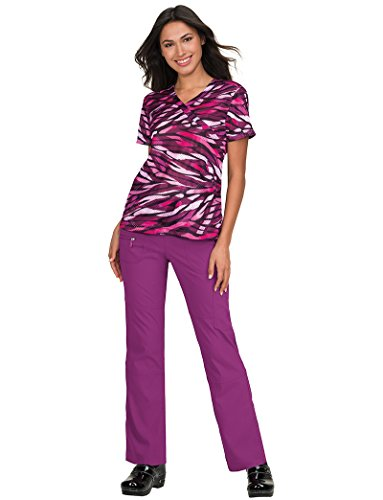 (KOI Lite Women's Bliss Mock Wrap Animal Print Scrub Top Large Print)