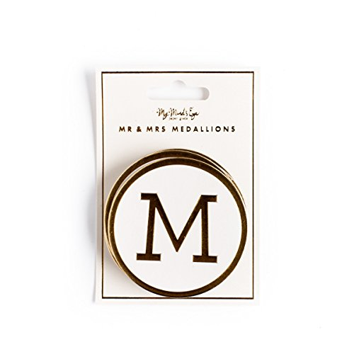 My Mind's Eye Fancy Mr. & Mrs. Medallions, Ivory and Gold, Chipboard