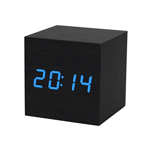 Gillberry 1PC Digital LED Black Wooden Wood Desk Alarm Brown Clock Voice Control - Mdf Office Bookcase