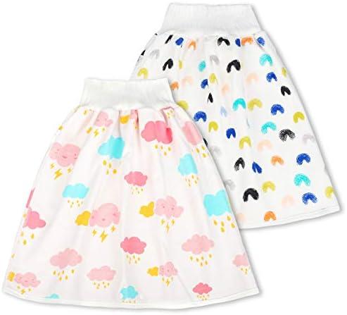 Diaper Skirt Toddler Girls Potty Training Skirt Cotton Washable Toilet Training Nappy Skirt 2 in 1 Waterproof and Absorbent Short Children Leak-proof High Waist Belly-protecting Diaper Skirt