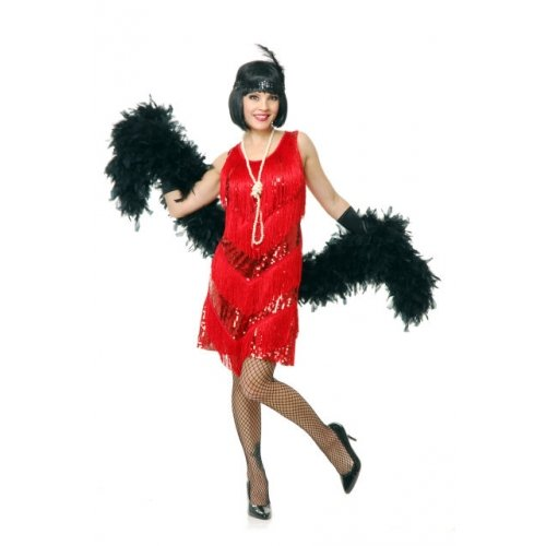 [Charades Womens Costume Four Tier Flapper Dress Red Small] (Iron Man Girl Costume Party City)