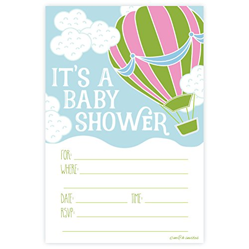 Hot Air Balloon Baby Shower Invitations - Fill In Style (20 Count) With Envelopes