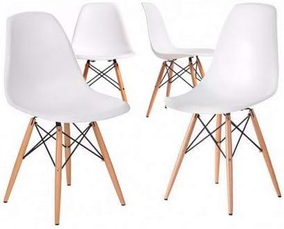 Home Heavenly®- Pack 4 sillas Comedor salón Modelo NÓRDICA, con Pata de Madera, Silla Basic en Blanco o Gris envío Desde España (Blanco)