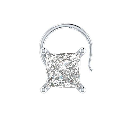 Princess Cut 0.25 ct D/VVS1 Simulated diamond 925 Sterling Silver Stud Screw & Twist Wire nose pin ()
