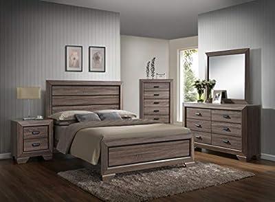 GTU Furniture Large Scale Rustic Wooden Grey Queen Bedroom Set