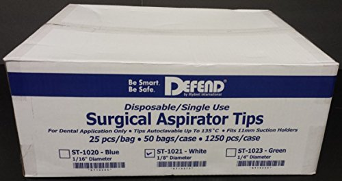 Defend ST-1021 250x White Universal Disposable Surgical Aspirator Suction Tips