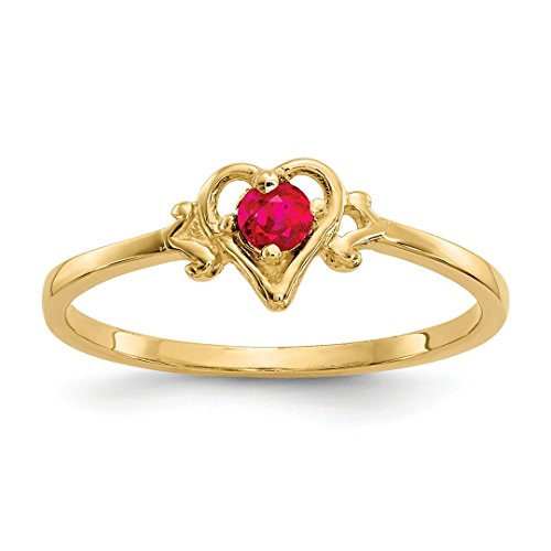 14k Gold Birthstone Ring - ICE CARATS 14kt Yellow Gold Red Ruby Birthstone Heart Band Ring Size 7.00 S/love July Style Fine Jewelry Ideal Gifts For Women Gift Set From Heart