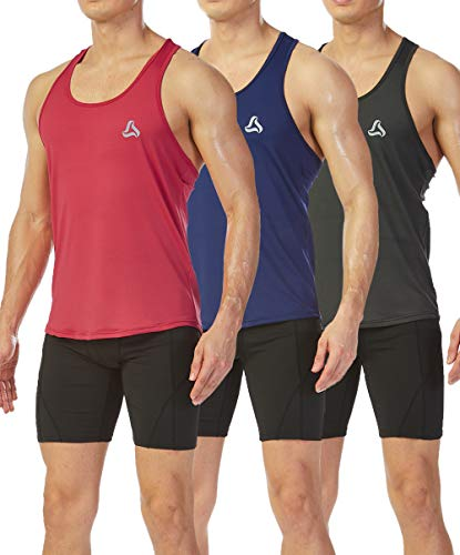 SILKWORLD Men's 3 Pack Mesh Y-Back Muscle Sleeveless Workout Tank Top,Navy Blue, Red, Grey, Medium (Navy Training Top Blue)