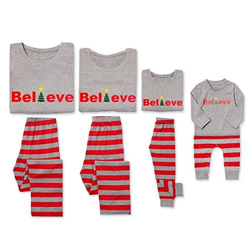 PatPat Dad Mom Baby Kids Family Matching Christmas Striped Pajamas Set Sleepwear from PatPat