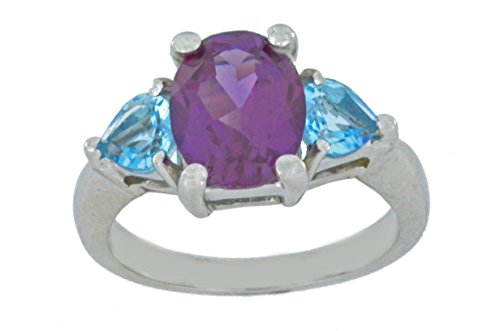 Blue Simulated Topaz - Created Alexandrite & Simulated Blue Topaz Heart Ring .925 Sterling Silver Rhodium Finish