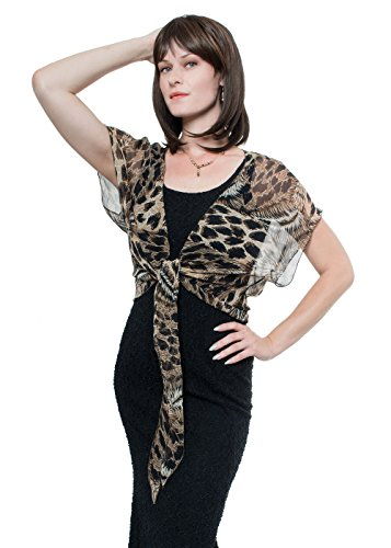 GALA Animal Print Silk Chiffon Shrug by Lena Moro (M-L, Animal Print)