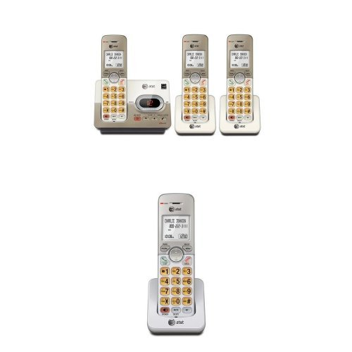 AT&T EL52313 DECT 6.0 Phone Answering System with Caller ID/Call Waiting, 3 Cordless Handsets, Silver and AT&T EL50003 Accessory Handset for EL52103, EL52203, EL52253,EL52303, EL52353, EL52403,EL52503, Silver Bundle