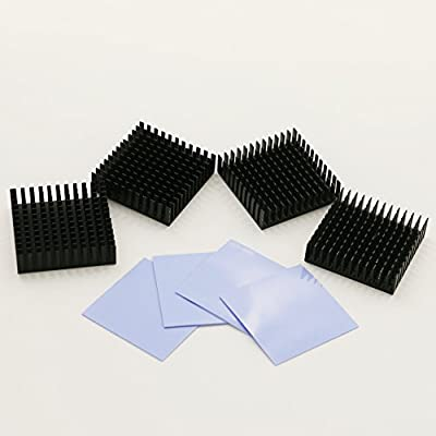 BNTECHGO 4 Pcs 40mm x 40mm x 11mm Black Aluminum Heatsink Cooling Fin + 4 Pcs 40mm x 40mm x 0.5mm Silicone Based Thermal Pad by bntechgo.com
