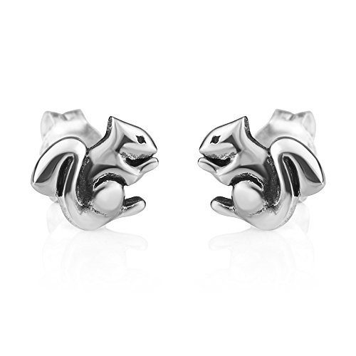 Chuvora Jewelry 925 Oxidized Sterling Silver Tiny Little Squirrel Chipmunk Post Stud Earrings 9 mm
