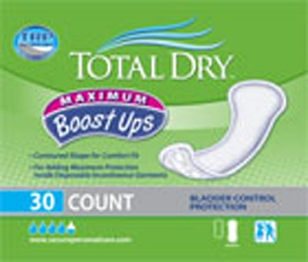 Totaldry Boostups Max Pad 120packs (4bags x 30count), White - 6 1/4