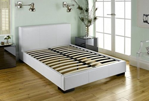 White - Faux Leather Platform Bed with Built-in Box Spring and Headboard (Twin)